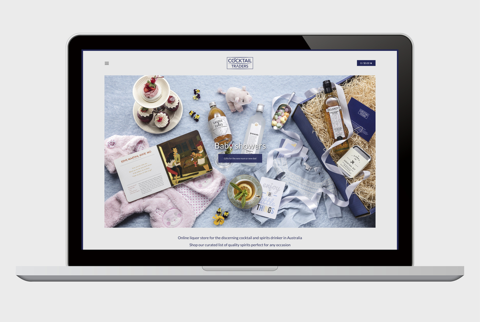 Cocktail Traders website on a laptop