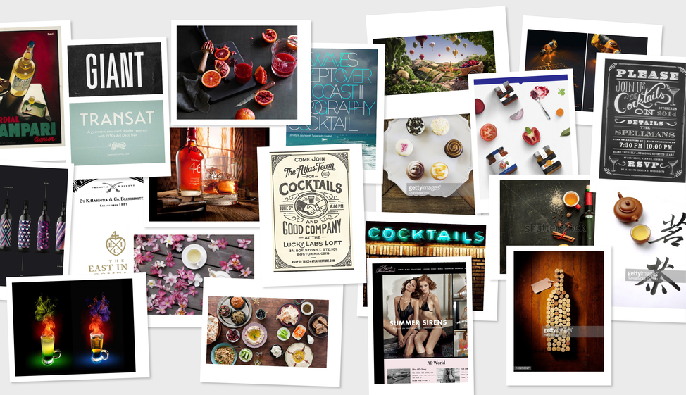 Mood board images for the Cocktail Traders brand
