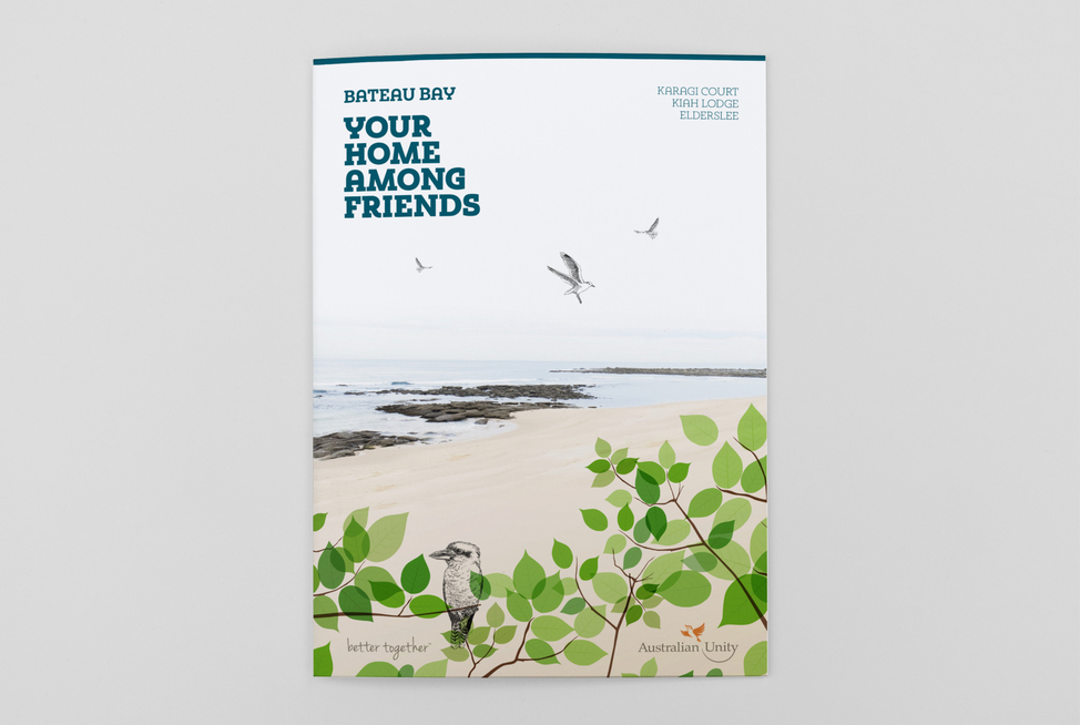 Australian Unity Retirement Services Bateau Bay Brochure (cover concepts)
