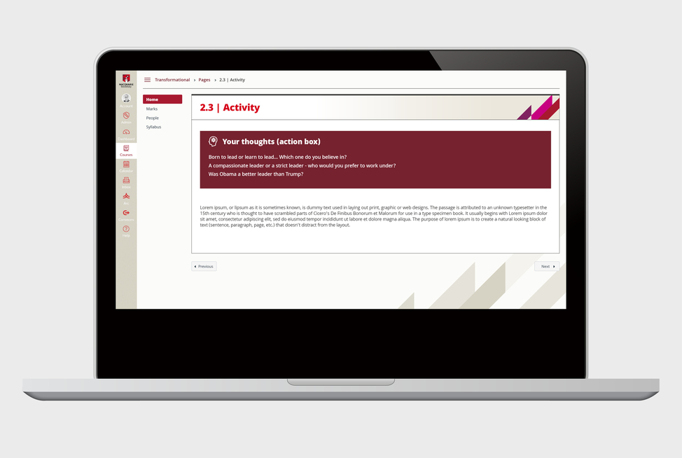 Macquarie University Canvas LMS graphics