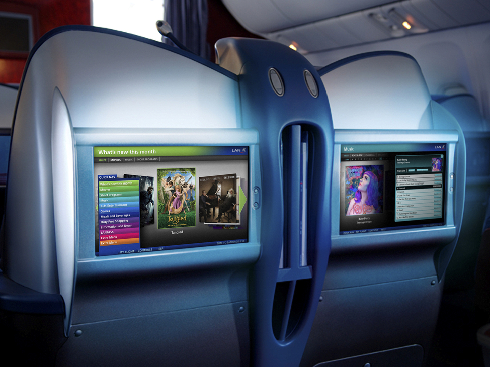 Seatback screen designs for LAN Airlines