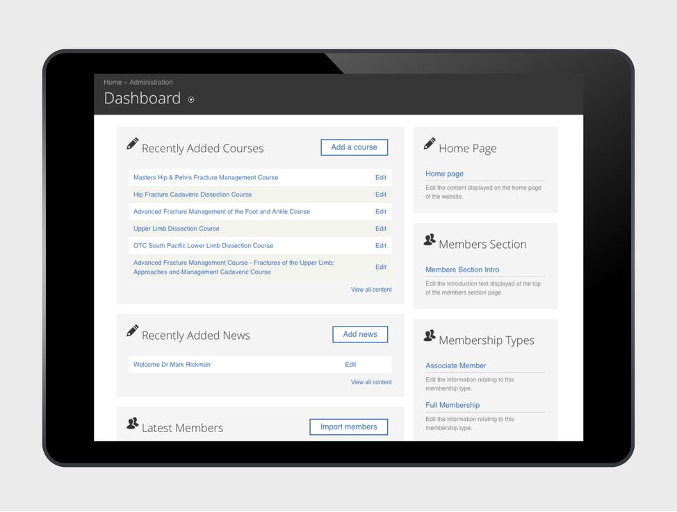 OTC website Drupal dashboard view